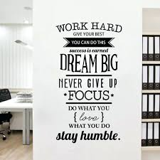 office room decor. Wall Decals Office Free Shipping Motivation Room Decor Never Give Up Work Hard Dream Big Inspirational Quote Stickers