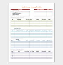 Itinerary Travel Template Vacation Itinerary Template 5 Planners For Word Doc Pdf Format