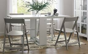 folding furniture for small spaces. Wooden White Gateleg Dining Table And Grey Folding Chair Furniture For Small Spaces S