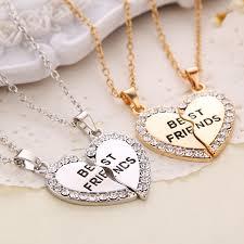 best friend necklaces silver stainless steel engraved broken heart friendship pendants 20 inches 2 piece