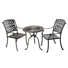 bistro table 71cm 2 venetian chairs black