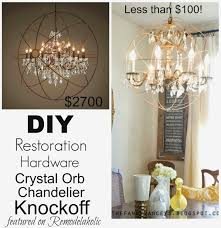 remodelaholic diy crystal orb chandelier knockoff restoration hardware chandelier look alike