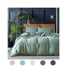 green duvet cover queen. Plain Cover 3 Pieces Dark Green Bedding Duvet Cover Set Ball Fringe Pattern  Design Soft Solid To Queen E