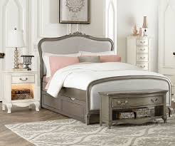 Charming NE Kids Kensington Collection Katherine Upholstered Bed With Trundle Full  Size 30025 Kids Bedroom Furniture In A Silver Finish