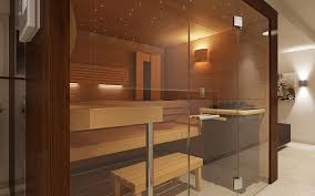 luxury home sauna glass panel sauna wall with door in foreground we glimpse wooden