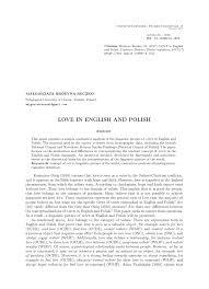 Pdf Love In English And Polish