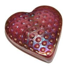 robert held art glass heart paperweight