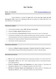 Collection of Solutions 6 Months Experience Resume Sample In Software  Engineer With Format