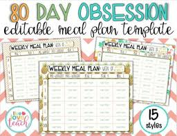 Weekly Meal Plan Sheet 80 Day Obsession Meal Plan Editable Templates