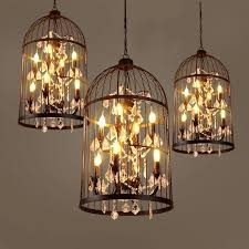 retro candle lighting iron art birdcage crystal chandeliers for hotel or home or villa