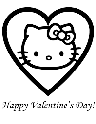 Hello kitty with a big heart. Hello Kitty Valentine Coloring Pages Coloring Home