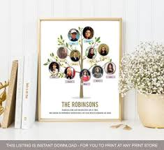 Family Tree Chart Ideas With Personal Photos Anniversary Gift Ideas For Parents Wife Husband Digital File