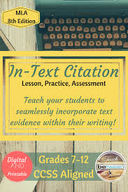 Mla 8th Edition In Text Citation Unit Citing Textual Evidence