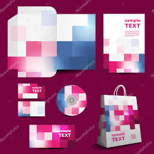 Checkered Design Stationery Template Corporate Image Design With Colorful