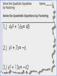 quadratic by factoring 1 57c f9b5855e5d05a1d quadratic equation worksheets printable pdf from