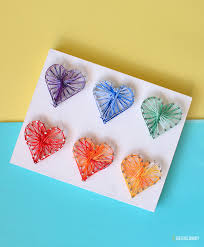 colorful valentine day heart string art