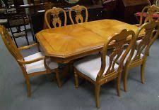 quality twin pedestal burr walnut veneer extending dining table 6 chairs