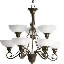 pavilion collection 9 light antique bronze chandelier with etched watermark glass shade
