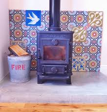Tiled Hearth Designs For Wood Stoves Encaustic Tiles For Fireplace Log Burner With Polished