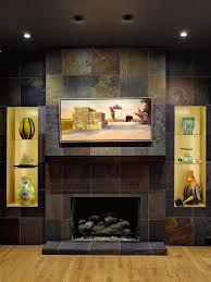 slate tile fireplace design