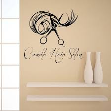 logo decals for walls hair beauty custom logo wall decals cut decorations barber saloon stickers