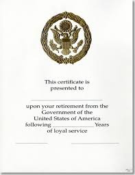 Opm Federal Career Service Award Certificate Wps 111 A Retirement Gold 8 1 2 X 11
