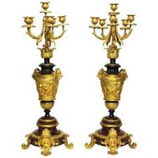 63 cm Tall 5 arms Metal Gold Candelabras With Pendants Romantic ...