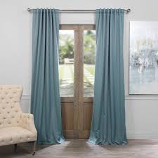 exclusive fabrics furnishings semi opaque anthracite grey blackout curtain 50 in w x 120 in l pair boch 201603 120 the home depot