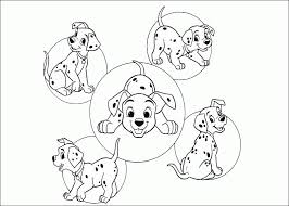 5 funny puppies from 101 dalmatians coloring pages