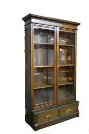 antique oak two door glass display cabinet bookcase
