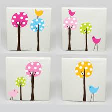 Kids Wall Art Ideas Kids Canvas Art Set Of 4 Polka Dot Tree Birds Nursery Childrens