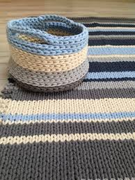 cotton set chunky rug and basket hand knitted rag rug chunky knit rug pattern