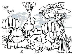 Wild Animals Coloring Pages Animal Page For Kids Easy Cute Printable