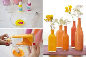 Paint The Inside of Clear Bottles to Create Beautiful Vases