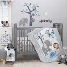 bedtime originals jungle fun 3 piece crib bedding set blue gray white