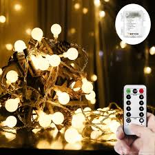 Outdoor Led String Lights With Remote Control 16 4ft 50 Outdoor Dimmable Led Globe String Light With Remote Control Starry String Light 8 Modes Waterproof Battery Operated Fairy Lights Patio