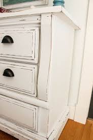 distressed white wood furniture. White Chalky Paint Dresser Makeover - The Happy Housie Zinsser Primer And Country Chic Chalk Based In White: It Is Called Simplicity With Clear Wax Distressed Wood Furniture Pinterest
