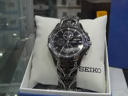 watch seiko men s solar powered black and stainless steel watch