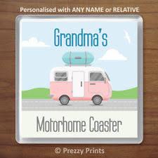 personalised motorhome drinks coaster birthday xmas gift any name or relative