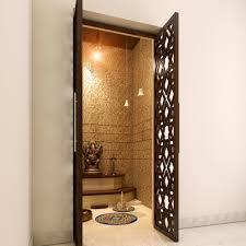 Pooja Room In Living Room Designs Lattice Doors That Make Your Pooja Room Look More Attractive