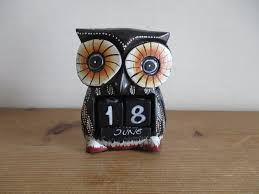 fair trade hand carved wooden owl perpetual calendar shabby chic dark brown