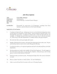 front office manager job description template required professional for resume duties with regard