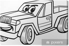 Canvas Pickup Auto Cartoon Kleurplaat Pixers We Leven Om Te
