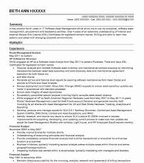 Asset Management Analyst Resume Sample Analyst Resumes Livecareer