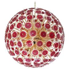 vistosi red murano glass sputnik chandelier for
