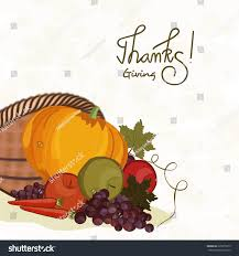 Thanksgiving Day celebration with stylish text and wooden basket full of  vegetables and fruits, can