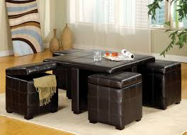 Coffee Table With Ottoman Seating In Brown Leather Together With Soft Rug  And Wooden Laminate Floor