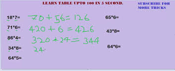 Learn Table Upto 100 In 5 Seconds in very simple way - YouTube