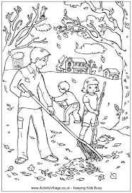 Small Picture Raking leaves coloring page Dad and children raking leaves in