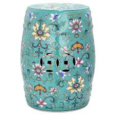 chinese garden stool. Safavieh 18.5-in Blue Ceramic Barrel Chinese Garden Stool
